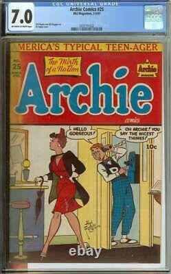 ARCHIE COMICS #25 CGC 7.0 OWithWH PAGES