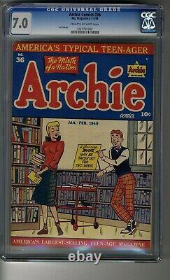 Archie Comics (1942) # 36 CGC 7.0 Cream/OW Pages Third Highest Graded