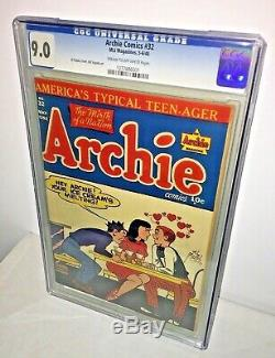 Archie Comics #32, CGC 9.0, Cream to Off-White Pages