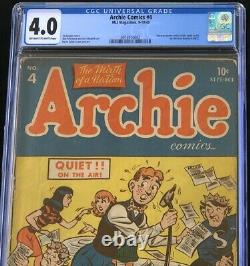 Archie Comics #4 (MLJ 1943) CGC 4.0 OW-W Only 38 in Census! Golden Age