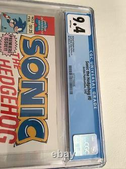 Cgc 9.4 Sonic The Hedgehog #0 White Pages Archie Comics 1993