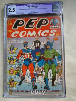 Scarce Pep Comics # 36 First Full Archie Cover In Pep Comics Cgc