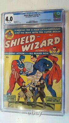 Shield Wizard # 1 Mlj (archie) 1940 Cgc 4.0 Origin Issue Classic Flag Cover