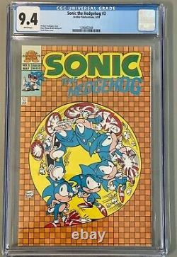 Sonic the Hedgehog #3 First Mini-Series CGC 9.4 May 1993 Archie White Pages